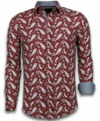 Rode Tony Backer Italiaanse Overhemden - Slim Fit Overhemd - Blouse Flower Pattern - Bordeaux Casual overhemden heren Heren Overhemd Maat 3XL