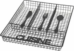 Merkloos / Sans marque Zwarte inzet bestekbak van metaal 32 cm - Keukenbenodigdheden - Bestekbak voor keukenla - Metalen mand voor bestek