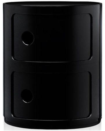 Afbeelding van Zwarte Kartell Componibili bijzettafel medium (2 comp.) zwart