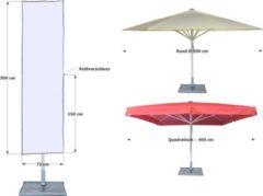 Schirmhülle Sonnenschirme bis Ø 500cm Weiß Montagestange Reißverschluss Abdeckplane Grasekamp Weiß