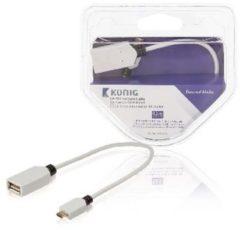 OTG datakabel USB 2.0 Micro B male - USB 2.0 A female 0,20 m wit - Kö