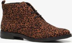 Nova dames veterschoenen met luipaardprint - Cognac - Maat 37