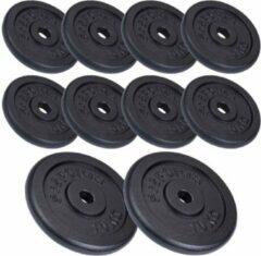 Zwarte ScSPORTS® Halterschijven set 60 kg - 30 mm - 8x5 - 2x10 kg - Gietijzer - Gewichten