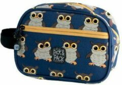 Blauwe Pick & Pack Owl Toilettas - Dark Blue Multi