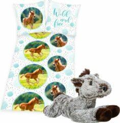 Groene Herding Dekbedovertrek bruin Veulen , 1persoons dekbed , 135x200, incl. zachte paarden knuffel - 32 cm - donkerbruin