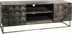 Bruine Vtw Living Luxe TV Meubel van Mangohout - Mangohouten kast - TV Kast - TV Cabinet - Kast - Meubel - TV Meubel - Industrieel - Landelijk - Cabinet - Sfeer - Luxe - Premium - 126 cm breed