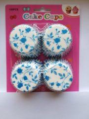 Het Borstelhuis vof Cupcake Vormpjes Papier - Muffin Vormpjes - 100 Stuks - Diameter 5 cm - Wit met blauwe bloemen