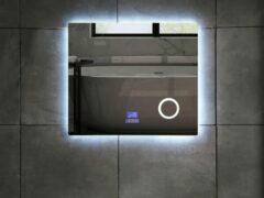 Mawialux LED spiegel   80cm   Rechthoek   Verwarming   Digitale klok   Bluetooth   ML-80NMF