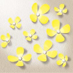 Gele Walplus Decoratie Sticker Kristal 3D Bloemen - Geel met Swarovski Kristallen