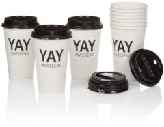 Coffee to go Becher-Set, 10-tlg. IMPRESSIONEN weiß/schwarz