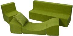 Go Go Momi Zacht foammeubelset: stoel + Bank + touringcar voor kinderen, kinderen, comfortabel, ontspannen, spelen - Groene