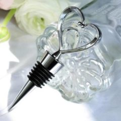 Zwarte VK-Dutch Trading Valentijn Stijlvolle Hartvorm RVS Wijnstopper - Flessenstop / Wijnafsluiter Voor Wijn - Wijnflesafsluiter Valentijnsdag