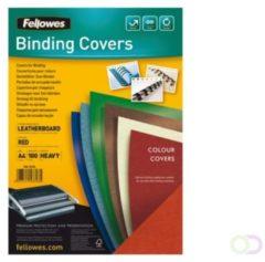 Voorblad Fellowes A4 lederlook rood 100stuks