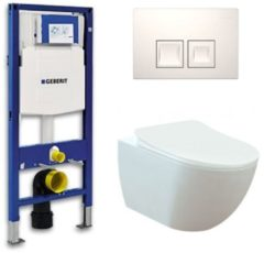 Douche Concurrent Geberit UP 100 toiletset - Inbouw WC Wandcloset - Creavit Mat Wit Rimfree Geberit Delta-50 Wit