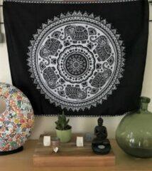 Mandala kleed - tafelkleed - 95 x 75 cm - wandkleed - Zwart/Wit