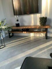 Bruine Boomstam enzo Boomstam TV meubel l hout l staal l 110x40x45