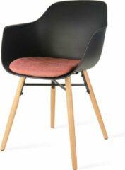 Nolon Nena eetkamerstoel - Zwarte zitting met armleuningen en terracotta rood zitkussen