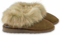 Bruine Texelana sloffen en pantoffels voor dames & heren - pantoffel van schapenvacht met bontrand - model Nelda maat 44