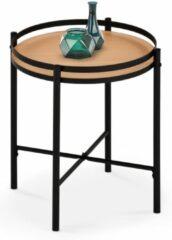 Home Style Bijzettafel Mela 44x46x44 cm breed in natuurlijk eiken met zwart