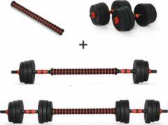 Active Panther Dumbbell set 30 kg met halterstang - Dumbbells verstelbaar - Halterset - Fitness gewichten set - Rood/zwart