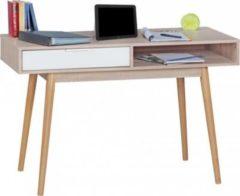 Wohnling Schreibtisch SAMO Design Computertisch mit Schublade Sonoma/Weiß Tisch modern mit Fächer Bürotisch Ablage 120 cm