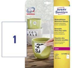 Avery afneembare weerbestendige etiketten formaat 210 x 297 mm (b x h) (b x h) wit doos van 20 etiketten