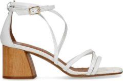 Manfield - Dames - Witte sandalen met crocoprint - Maat 37