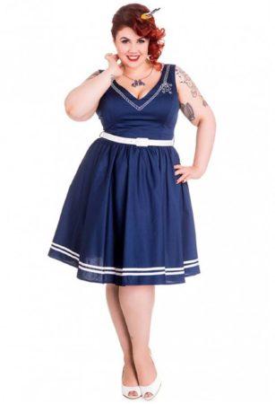 Afbeelding van Donkerblauwe Hell Bunny Ariel Jurk Marine Plus Size