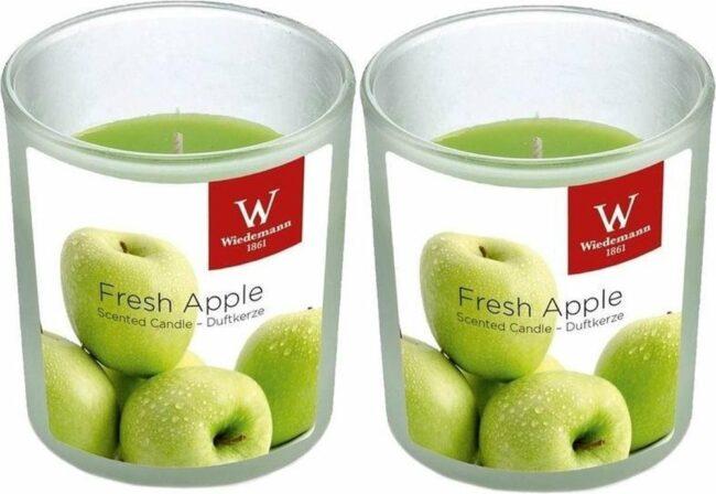 Afbeelding van Groene Trend Candles 2x Geurkaarsen appel in glazen houder 25 branduren - Geurkaarsen appel geur - Woondecoraties