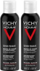 Vichy Homme Scheerschuim -2 x 200 ml - Anti-Irritatie - Voordeelpack