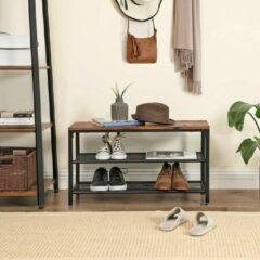 Trend24 - Opbergbank - Opbergkastje voor schoenen - Rustiek Bruin