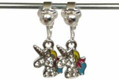 Blauwe MNQ bijoux - Clipoorbellen - Oorclips - Kind - Meisje - Verzilverd - Unicorn - Eenhoorn - Glitters - Roze - Hangoorbellen