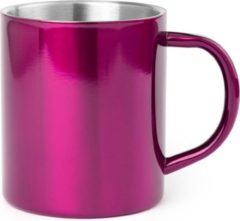 Shoppartners 1x Drinkbeker/mok fuchsia 280 ml - RVS - Fuchsia mokken/bekers voor onbijt en lunch