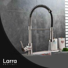 Larra Premium Geborsteld Nikkel Keukenkraan - Mengkraan - Uittrekbare Uitloop - Geborsteld Nikkel Kraan - Messing RVS - LA143
