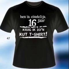 Zwarte Bc Funny t shirt - Ben ik eindelijk 16 jaar krijg ik zo'n kut t-shirt mt S