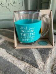 Blauwe Creaties van hier Theeglas / met tekst Met jou is een theetje altijd een goed ideetje / cadeau / verjaardag / kerstmis / vaderdag / moederdag / vriendschap