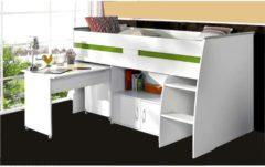 Multifunktionshochbett mit Schreibtisch 'Reverse 1' Parisot Weiß