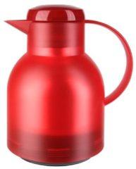 Rode Thermoskan Emsa samba quick press 1 liter transparant rood