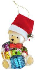 Weihnachtshänger 'Teddybär mit Geschenk' Krebs Glas Lauscha Mehrfarbig