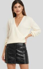 NA-KD Trend Embossed Croco Pu Mini Skirt - Black