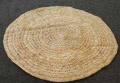 Beige Nusa Originals - Opengevlochten Vloerkleed - Grootte 150cm - Handgemaakt & Fairtrade