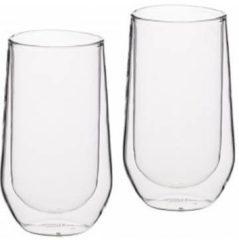 Transparante Set van 2 Hoge Dubbelwandige Glazen - 380ml - KitchenCraft |Le'Xpress