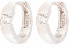 Elegance Zilveren Oorbellen klapcreolen met zirconia rosékleurig 107.5410.00