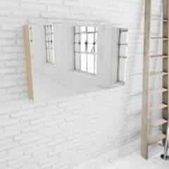 Zaro Beam licht eiken spiegelkast 120x70x16cm 2 deuren