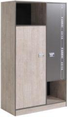 Kleiderschrank Esche/ Grau Mit Aufschrift Parisot Fabric Holz Modern