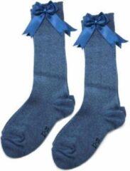 Blauwe IN Control, kniesokken met satijnen STRIK, 876-2 jeans 15/17