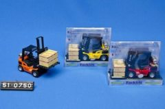 Basic 2-Play Traffic Diecast Pull-Back Heftruck met Pallet+Doos en Licht+Geluid Assorti