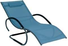 Luxus XXL Aluminium Schwingliege Swingliege Gartenliege Sonnenliege blau Meerweh blau