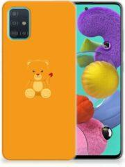 Oranje Samsung Galaxy A51 Telefoonhoesje met Naam Baby Beer