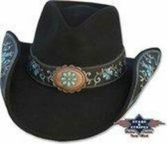 Zwarte Stars & Stripes Western dames hoed Stars&Stripes SALLY Black S